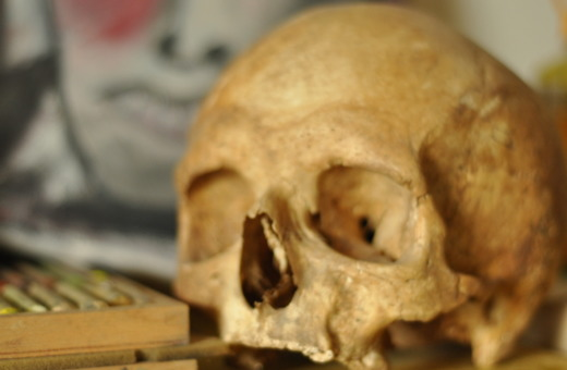 Human skull in front of painting