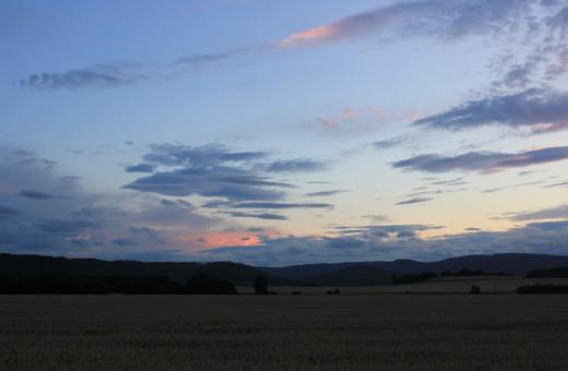 Sundown behind the harz mountains