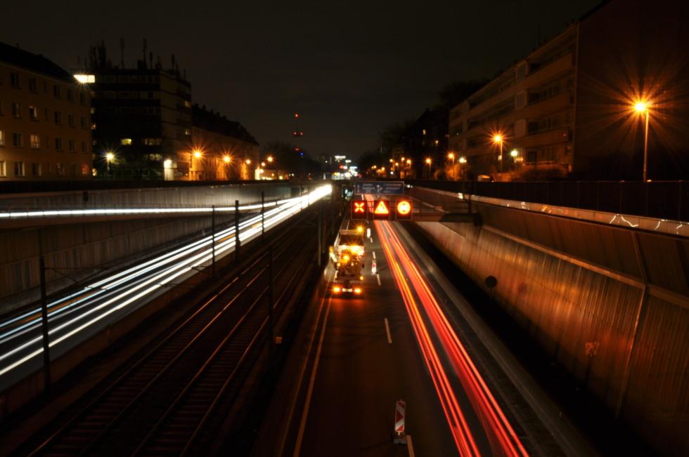 Motorway A40 in Essen at night