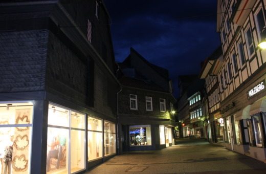 Pedestrian area in Goslar at night