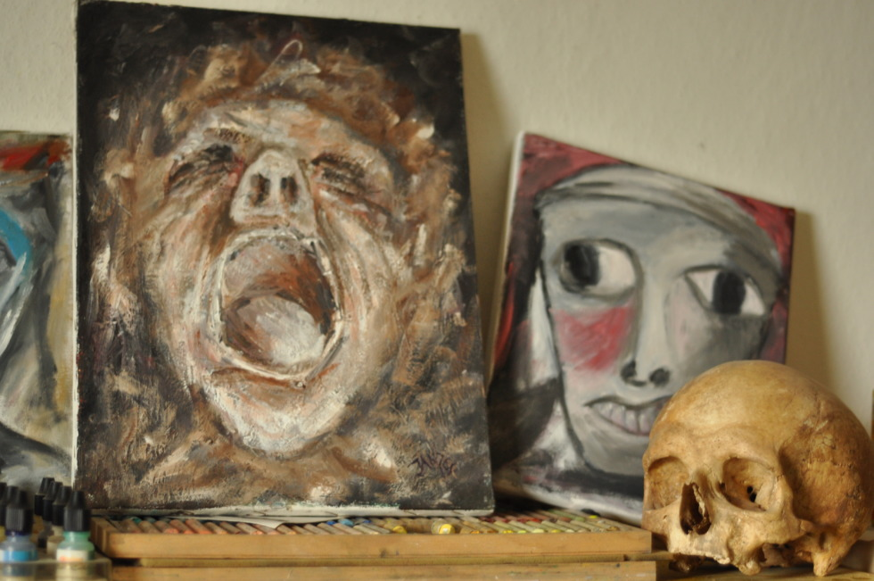 Skull and paintings