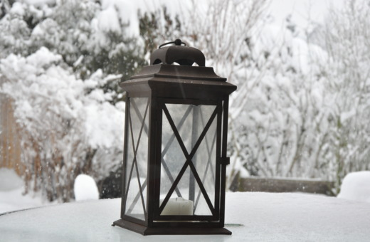 Black lantern in snow