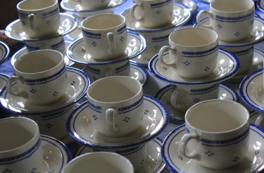 White and blue china mugs