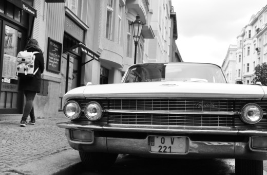 Cadillac and girl in Prague