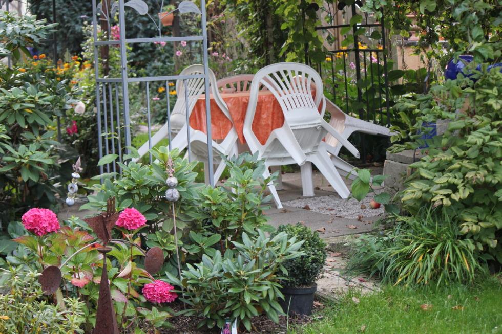 Patio in a colorful garden