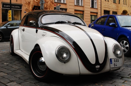Lowered Volkswagen Bug in Prague