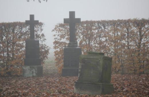 Tombstones in fog