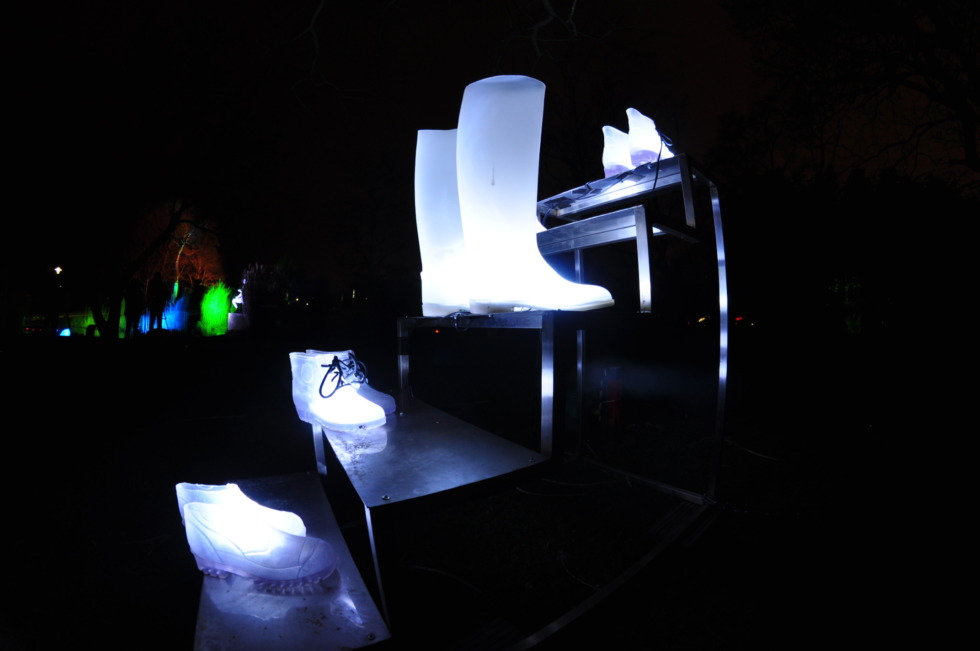 Art-installation - Illuminated shoes and stair