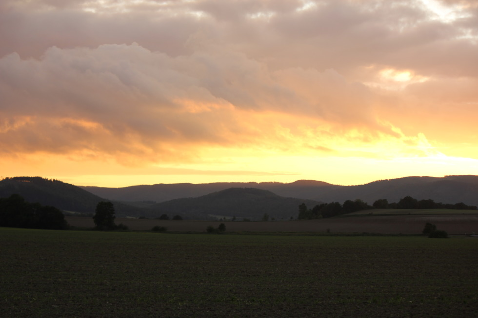 Burning sky over fields in Lower saxony