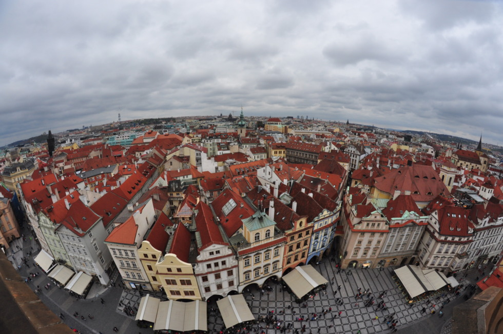 View over Prague from old townhall's tower