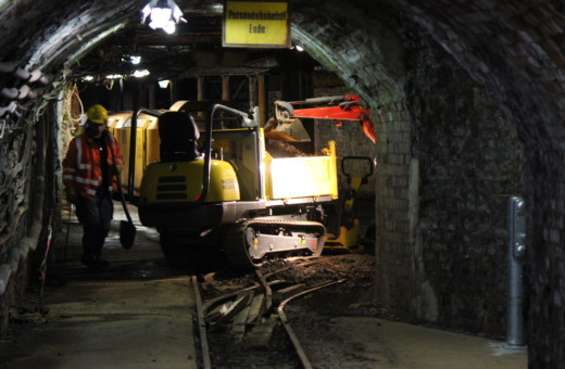 Worker below ground in Rammelsberg mine