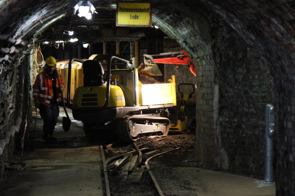 Worker below ground in Rammelsberg mine