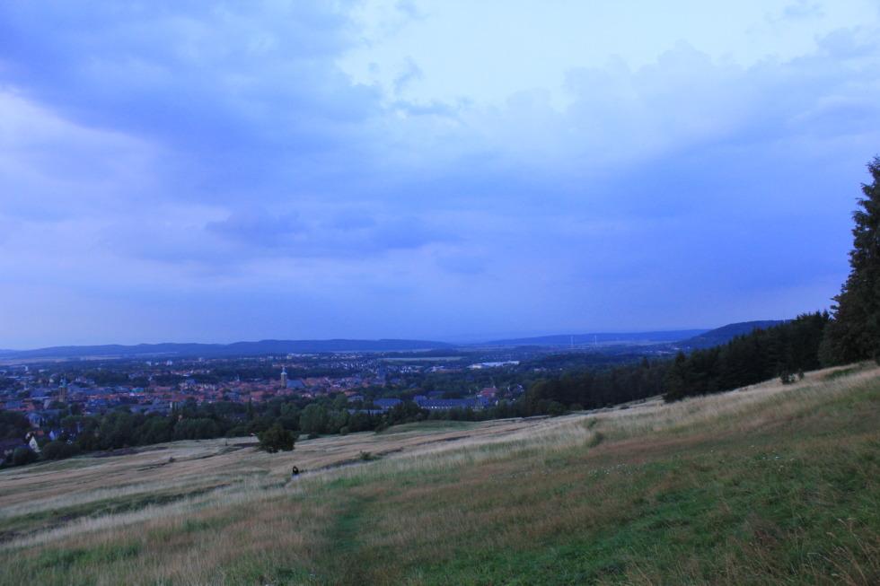 Blue horizon over green field