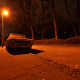 Opel Kadett at night in orange light
