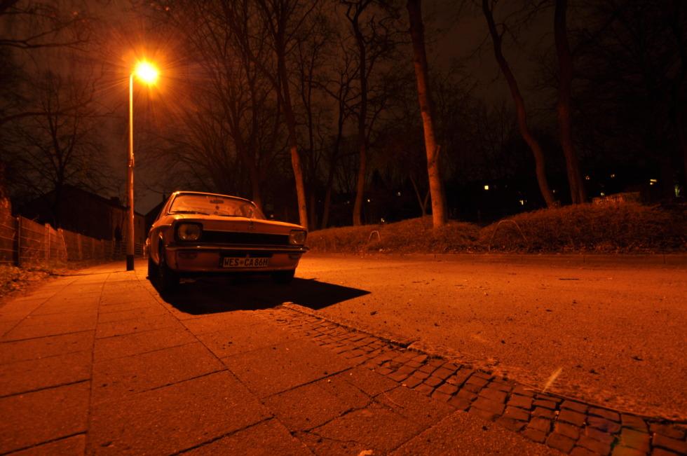 Opel Kadett at night in orange light