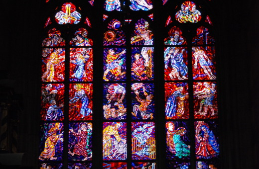 Huge stained-glass window in St. Vitus cathedral
