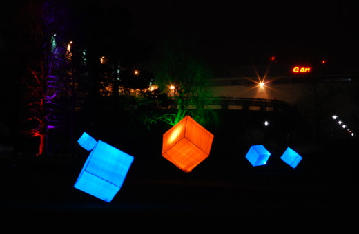Lit-up cubes in Gruga Park, Essen, Germany