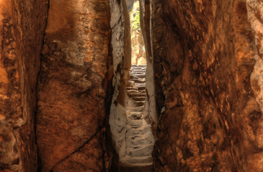 Stairs in canyon at Pravhov rocks