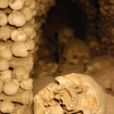 Tunnel of skulls in Kutná Hora's bone church