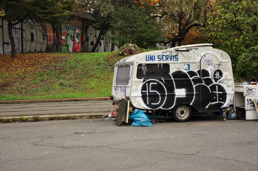 Sprayed camper in Prague