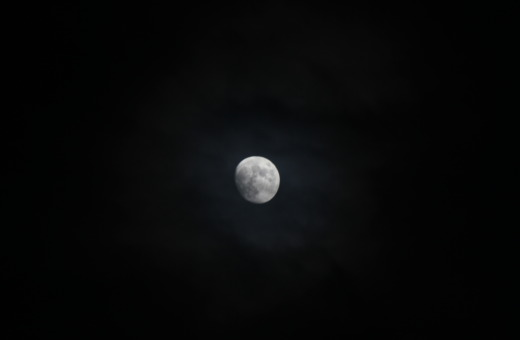 Full moon in dark sky