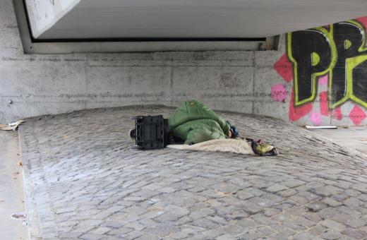Homeless sleeping under a bridge in Hamburg
