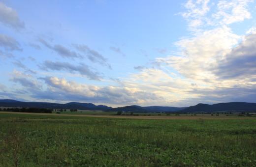 Wide sky over green fields in Harz region