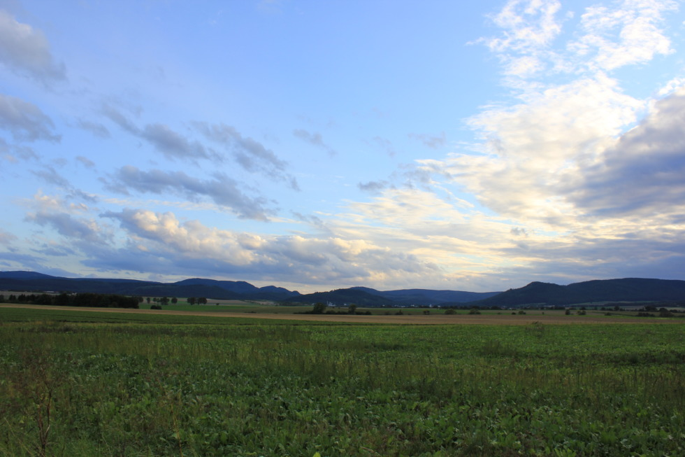 Wide sky over green fields in Harz region