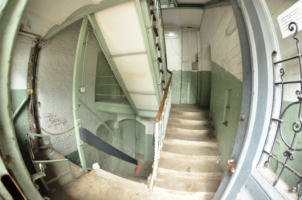 Staircase of old storage house at Hamburg's port