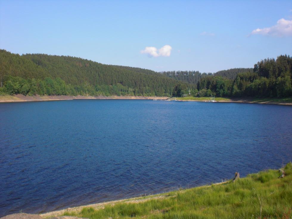 Blue water in Okerstausee reservoir