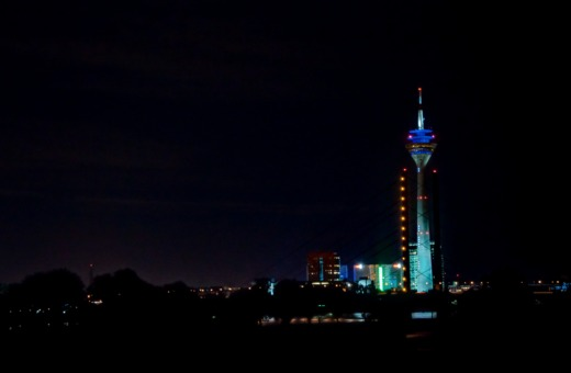 Düsseldorf's television tower at night