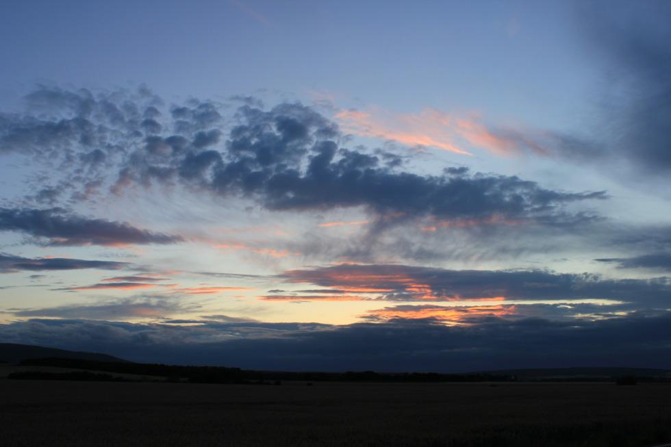Sundown behind fields