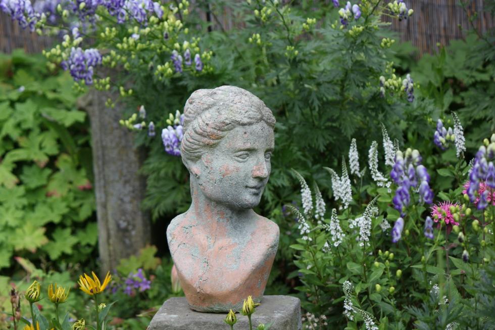 Female bust between flowers