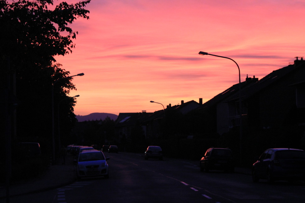 Pink sundown in the streets