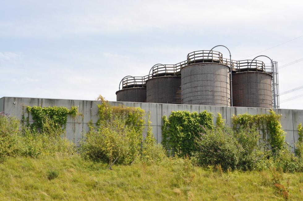 Silos behind concrete walls at Ruhr area