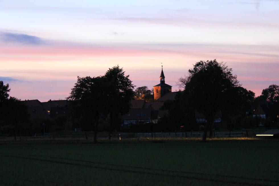 German church steeple in sundown