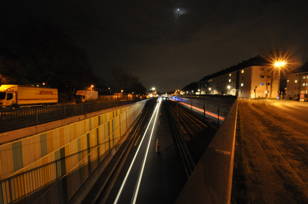 Highway bridge over A40 at night