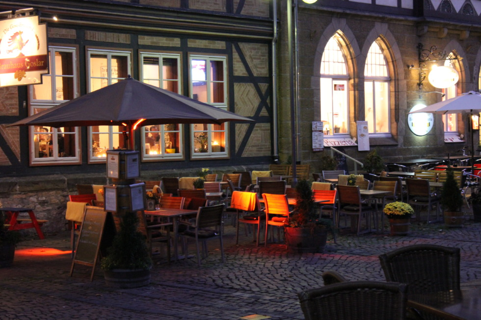 Old city centre of Goslar in the evening