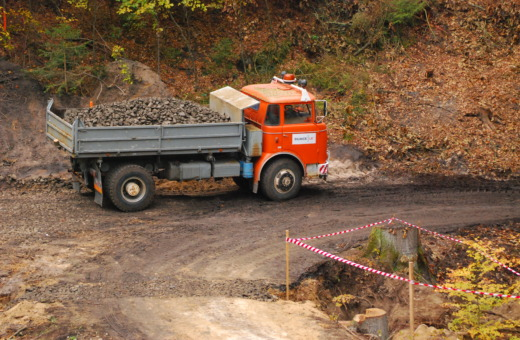 Orange flatbed truck in Czech woods