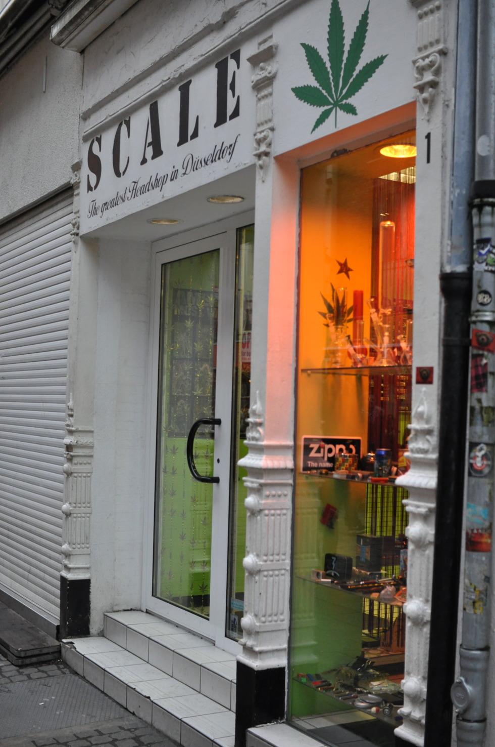 Head shop in Düsseldorf's old city centre