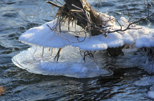 Ice-sculptures on a river