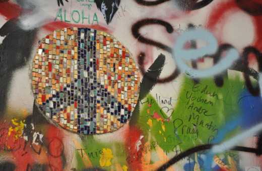 Peace mosaic on John Lennon wall in Prague