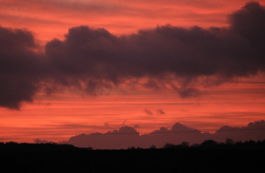 Red sky - black silhouette