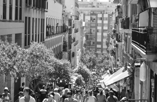 View down a small street in Madrid
