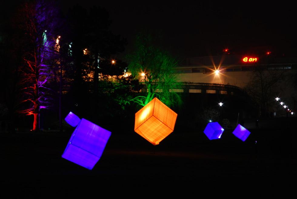 Colorful illuminated cubes at Parkleuchten