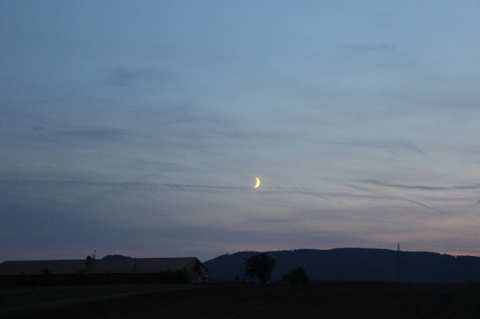 Rising crescent over the fields