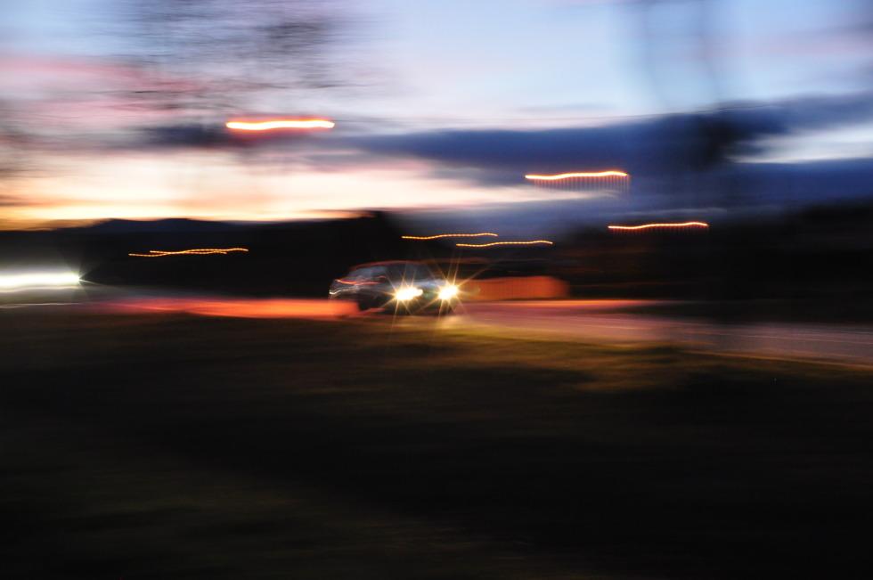 Speedy car at night light painting