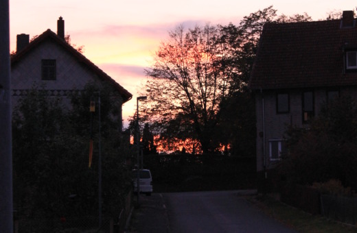 Sundown at the end of the street
