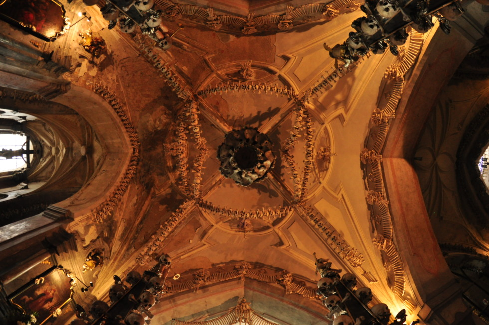 Artful ceiling in Kutná Hora's skull church