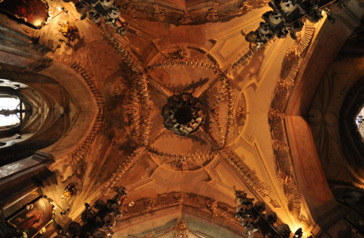 Artful ceiling in Kutná Hora's skull church